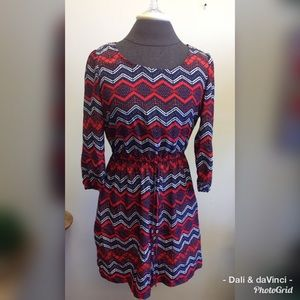 BeBop L/S Navy and Red Print Dress